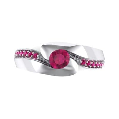 Half-Pave Ruby Bypass Engagement Ring (0.48 CTW) Top Flat View
