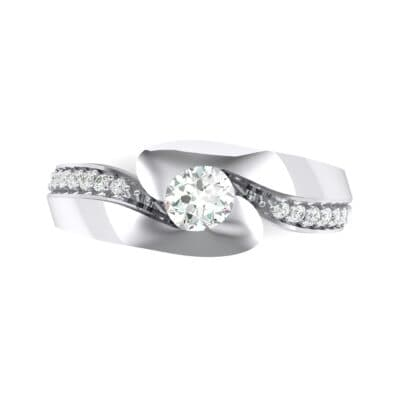 Half-Pave Crystal Bypass Engagement Ring (0.48 CTW) Top Flat View