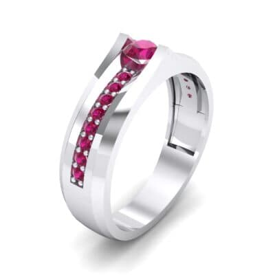 Pave Apex Ruby Engagement Ring (0.41 CTW)