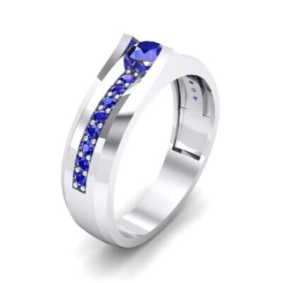 Pave Apex Blue Sapphire Engagement Ring (0.41 CTW)