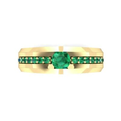 Pave Apex Emerald Engagement Ring (0.41 CTW) Top Flat View