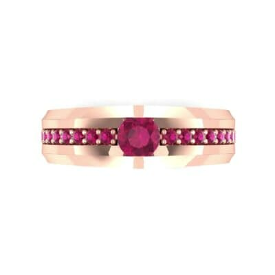 Pave Apex Ruby Engagement Ring (0.41 CTW) Top Flat View