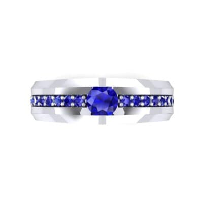 Pave Apex Blue Sapphire Engagement Ring (0.41 CTW) Top Flat View