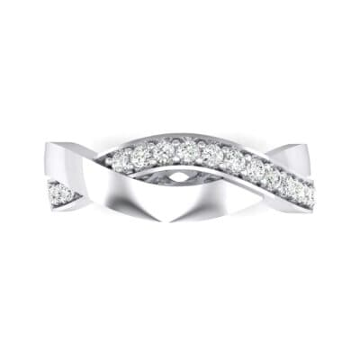 Curved Intertwine Crystal Ring (0.26 CTW) Top Flat View