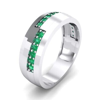 Pave Blocks Emerald Ring (0.36 CTW)