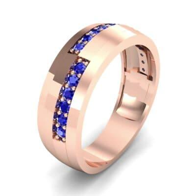 Pave Blocks Blue Sapphire Ring (0.36 CTW)