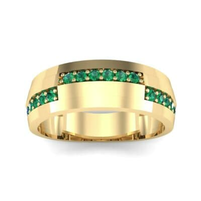Pave Blocks Emerald Ring (0.36 CTW) Top Dynamic View