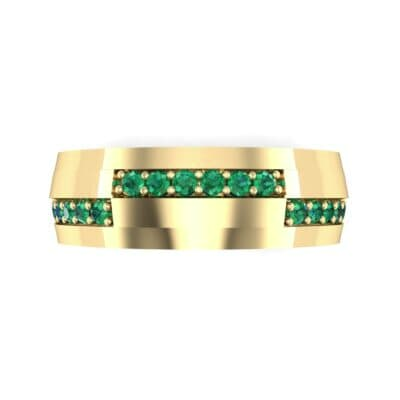 Pave Blocks Emerald Ring (0.36 CTW) Top Flat View