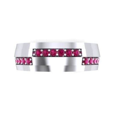 Pave Blocks Ruby Ring (0.36 CTW) Top Flat View