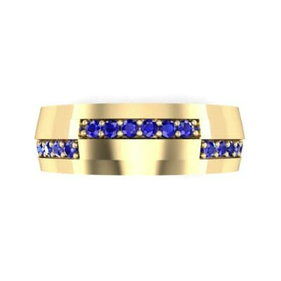 Pave Blocks Blue Sapphire Ring (0.36 CTW) Top Flat View