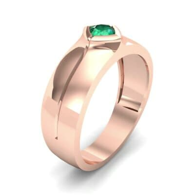 Wide Compass Solitaire Emerald Ring (0.25 CTW)