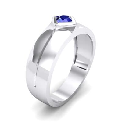 Wide Compass Solitaire Blue Sapphire Ring (0.25 CTW)