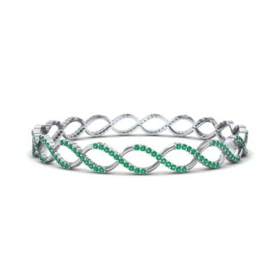 Pave Eternity Emerald Bangle (2.85 CTW) Perspective View