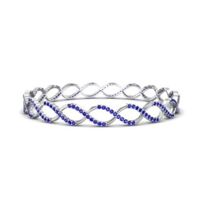 Pave Eternity Blue Sapphire Bangle (2.85 CTW) Perspective View
