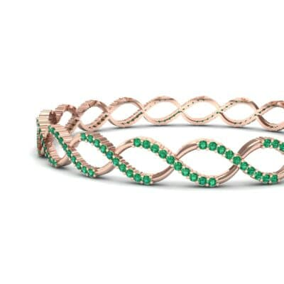 Pave Eternity Emerald Bangle (2.85 CTW) Top Dynamic View