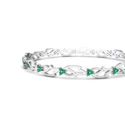 Jeweled Ivy Emerald Bangle (0.78 CTW) Top Dynamic View