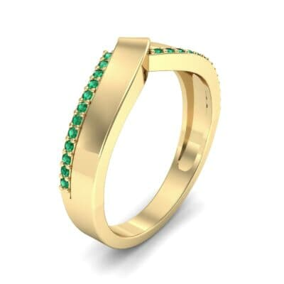 Pave Edge Peak Emerald Ring (0.13 CTW) Perspective View