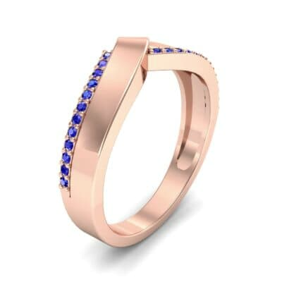 Pave Edge Peak Blue Sapphire Ring (0.13 CTW) Perspective View