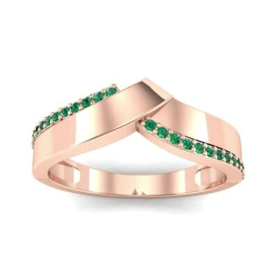 Pave Edge Peak Emerald Ring (0.13 CTW) Top Dynamic View