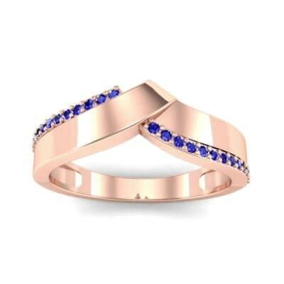 Pave Edge Peak Blue Sapphire Ring (0.13 CTW) Top Dynamic View