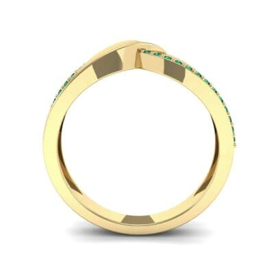 Pave Edge Peak Emerald Ring (0.13 CTW) Side View