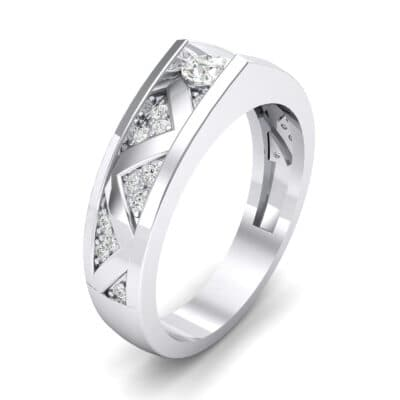 Fine Pave Crevice Crystal Engagement Ring (0.44 CTW) Perspective View