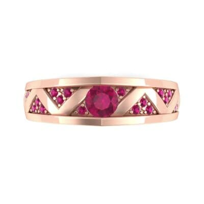Fine Pave Crevice Ruby Engagement Ring (0.44 CTW) Top Flat View