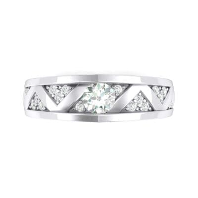 Fine Pave Crevice Crystal Engagement Ring (0.44 CTW) Top Flat View