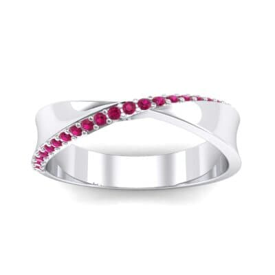 Pave Twist Ruby Ring (0.14 CTW) Top Dynamic View