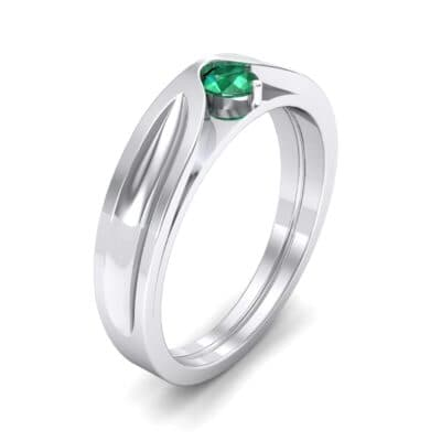 Fluted Emerald Engagement Ring (0.17 CTW)