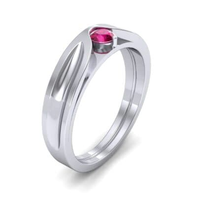 Fluted Ruby Engagement Ring (0.17 CTW) Perspective View