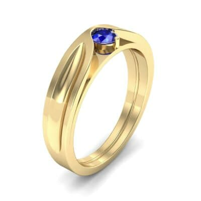 Fluted Blue Sapphire Engagement Ring (0.17 CTW)