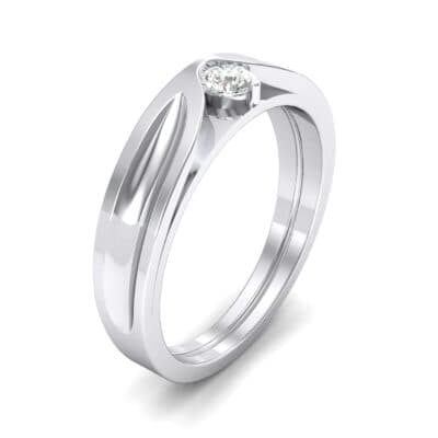 Fluted Diamond Engagement Ring (0.17 CTW) Perspective View