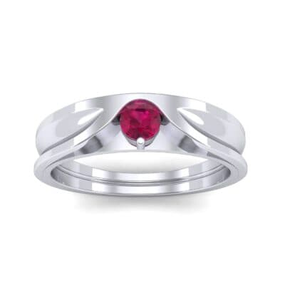 Fluted Ruby Engagement Ring (0.17 CTW) Top Dynamic View