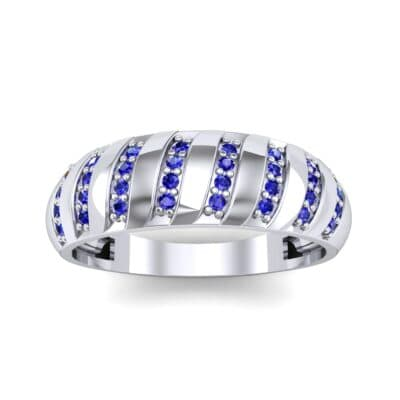 Pave Plume Blue Sapphire Ring (0.16 CTW) Top Dynamic View