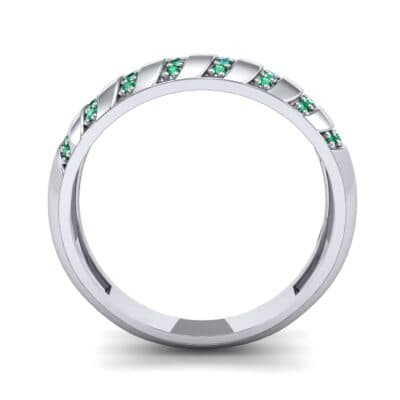 Pave Plume Emerald Ring (0.16 CTW) Side View