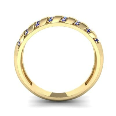 Pave Plume Blue Sapphire Ring (0.16 CTW) Side View