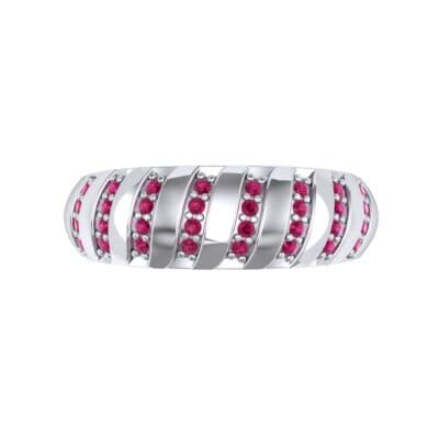 Pave Plume Ruby Ring (0.16 CTW) Top Flat View