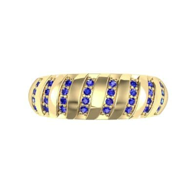 Pave Plume Blue Sapphire Ring (0.16 CTW) Top Flat View