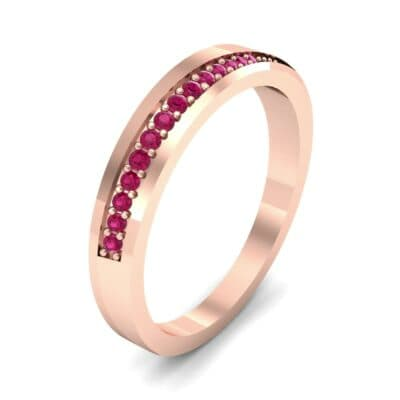Pave Bevel Ruby Ring (0.09 CTW)