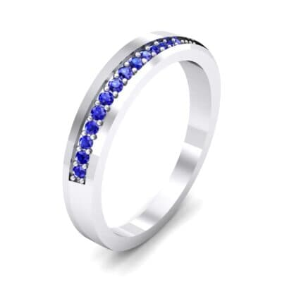Pave Bevel Blue Sapphire Ring (0.09 CTW)