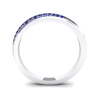 Pave Bevel Blue Sapphire Ring (0.09 CTW) Side View