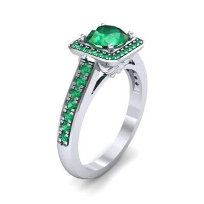 Square Pave Halo Emerald Engagement Ring (0.97 CTW) Perspective View