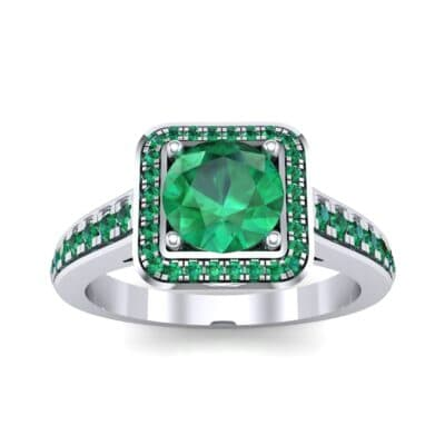 Square Pave Halo Emerald Engagement Ring (0.97 CTW) Top Dynamic View