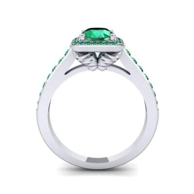 Square Pave Halo Emerald Engagement Ring (0.97 CTW) Side View