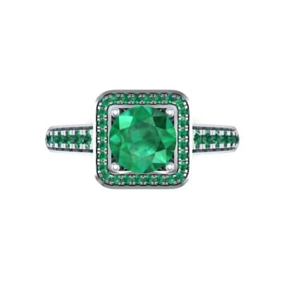 Square Pave Halo Emerald Engagement Ring (0.97 CTW) Top Flat View
