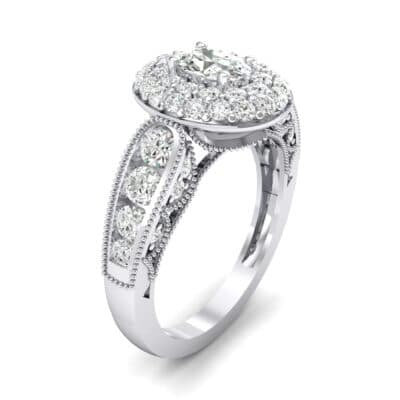 Eliza Double Halo Oval Crystal Engagement Ring (1.54 CTW) Perspective View