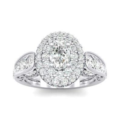 Eliza Double Halo Oval Crystal Engagement Ring (1.54 CTW) Top Dynamic View