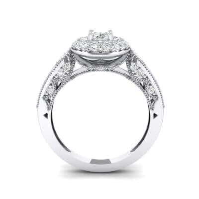 Eliza Double Halo Oval Crystal Engagement Ring (1.54 CTW) Side View
