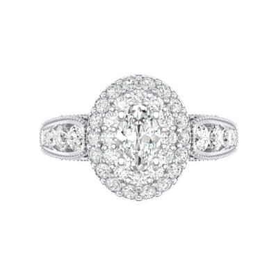 Eliza Double Halo Oval Crystal Engagement Ring (1.54 CTW) Top Flat View
